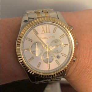 Michael Kors Oversized gold + silver watch